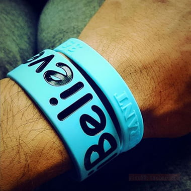 blue 1 wristbands with colored contents