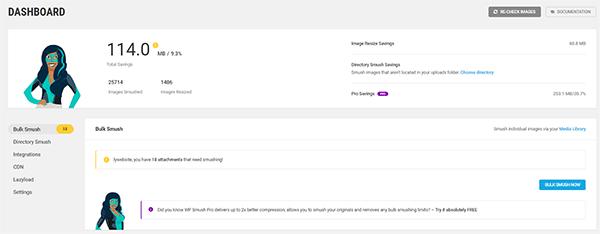 Smush Dashboard on WordPress