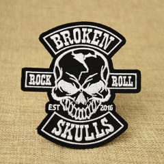 Rock Roll Skull Custom Patches