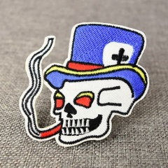 Smoking Skull Embroidered Patches
