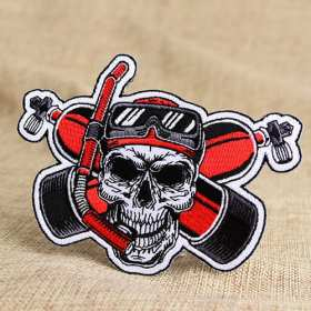 Diving Skull Embroidered Patches