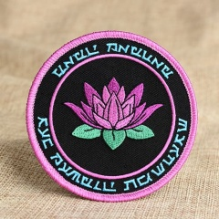 Purple Lotus Embroidered Patches
