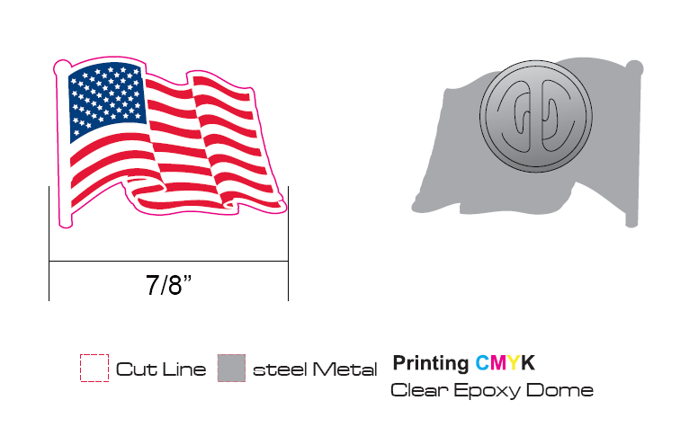 Stock American Flag Pins (S123)