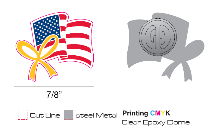 Stock American Flag Lapel Pins with offset printing