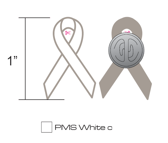 Stock White Breast Cancer Pins