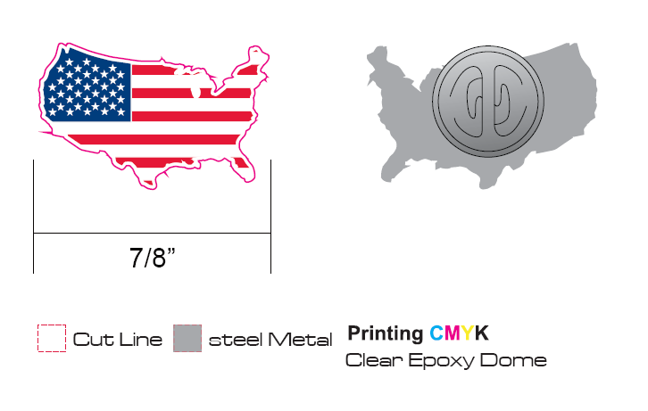 7/8 inches of Stock American Flag Lapel Pins (S122)