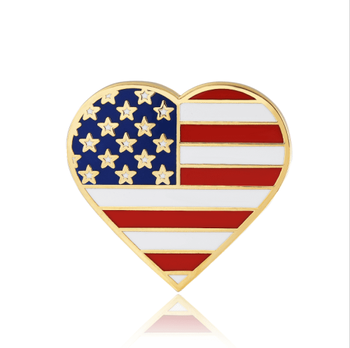 American flag lapel pin Heart Shaped