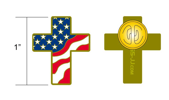 Cross American flag pin