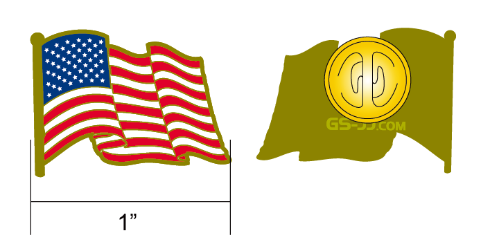 personalized American flag pin