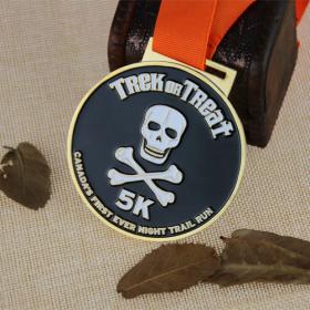 Custom Race Medals for Night Trail Run-Human Skeleton