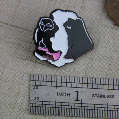 Soft Enamel Pins for Black and White Dog