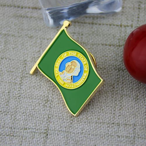 Soft Enamel Pins for Washingtong Flag
