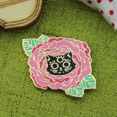 Rose and Cat Lapel Pins