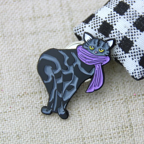 Lapel Pins for Cat Wearing Purple Scarf