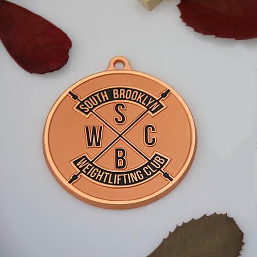 Weightlifting Club Custom Sandblast Medals