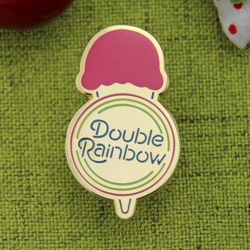 double rainbow custom hard enamel pins