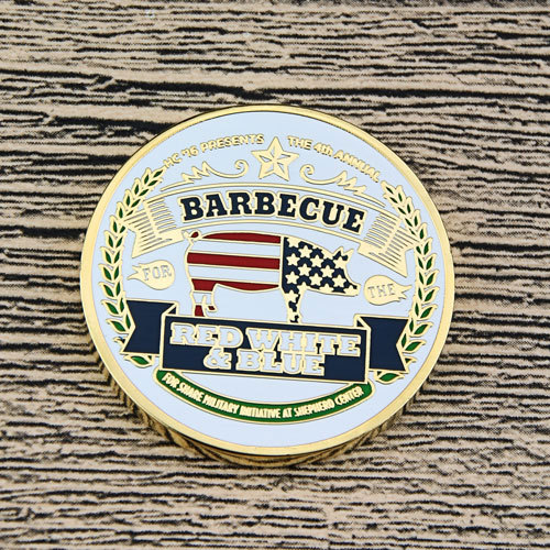 Red, White and Blue BBQ Custom Coins