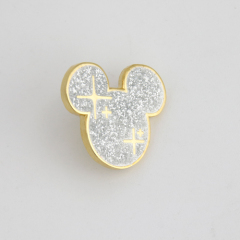 Glitter Disney Mickey Mouse Head Lapel Pins