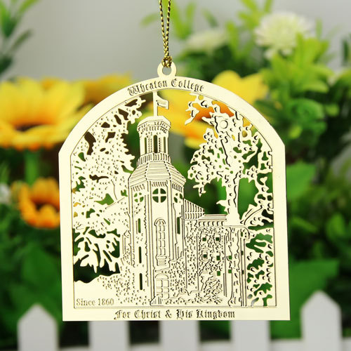 Wheaton College Custom Etched Ornaments
