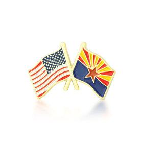 Arizona and USA Crossed Flag Pins