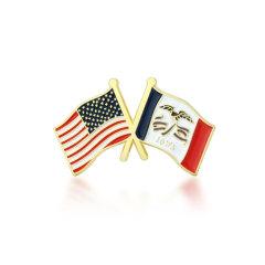 Iowa and USA Crossed Flag Pins