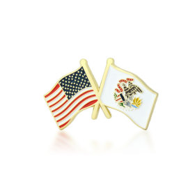 Illinois and USA Crossed Flag Pins
