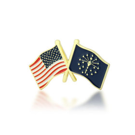 Indiana and USA Crossed Flag Pins