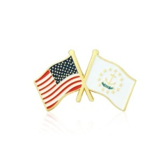 Rhode Island and USA Crossed Flag Pins