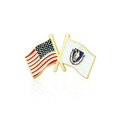 Massachusetts and USA Crossed Flag Pins