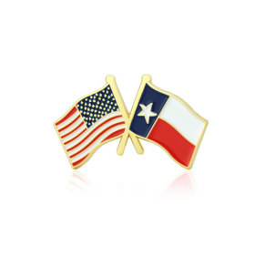 Texas and USA Crossed Flag Pins