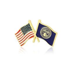 Nebraska and USA Crossed Flag Pins