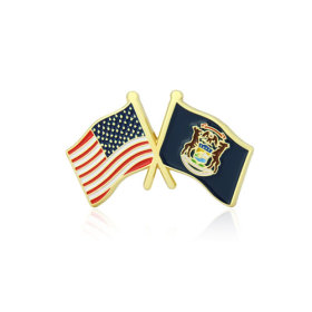 Michigan and USA Crossed Flag Pins