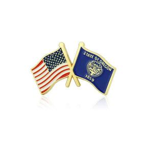 Oregon and USA Crossed Flag Pins