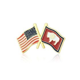 Wyoming and USA Crossed Flag Pins