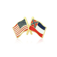 Mississippi and USA Crossed Flag Pins