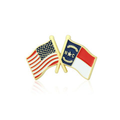North Carolina and USA Crossed Flag Pins