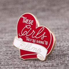 Red Heart Peach Lapel Pins