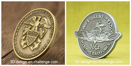 3D VS 2D Challenge Coins