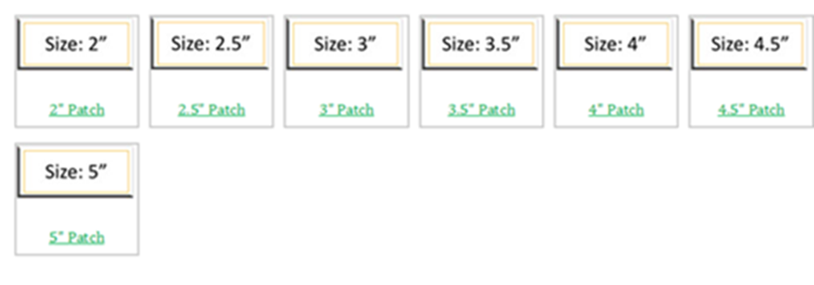 size of patches