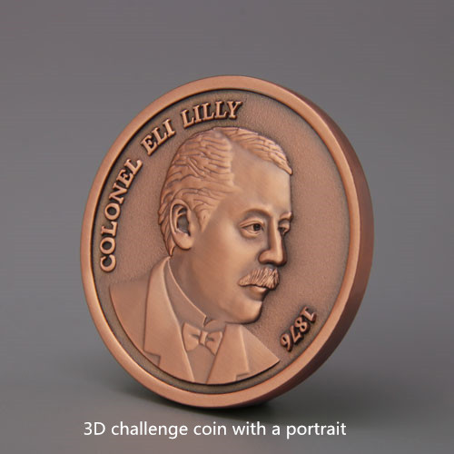 3D Challege coin with a portrait