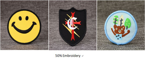 50% embroidery