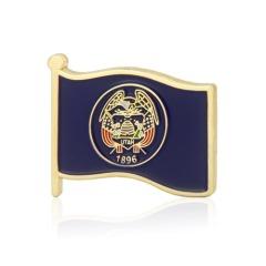 Utah State American Flag Lapel Pin