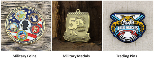 military coins, military medals and trading pins