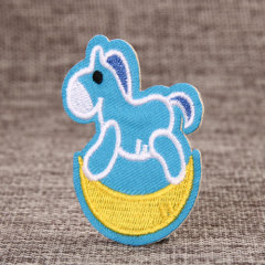 Blue Horse Embroidered Patches