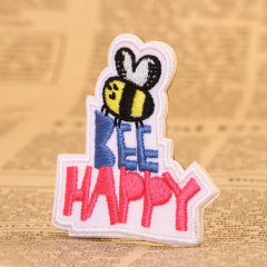 Bee Happy Embroidered Patches