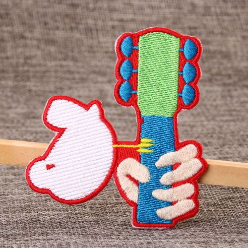 Cat Play Guitar Embroidered Patches