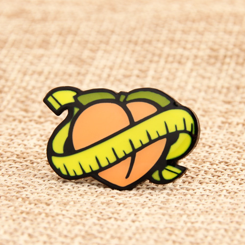 A Peach with Tape Lapel Pins