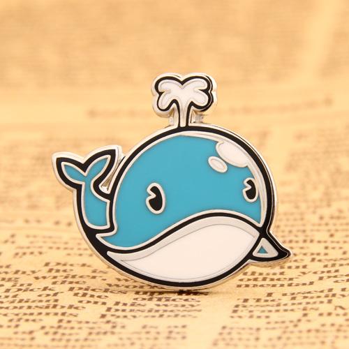 Cartoon Blue Whale Lapel Pins