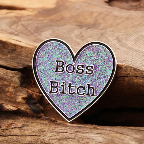 Shining heart custom lapel pins