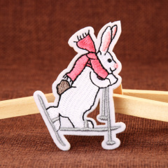 Skateboarding Rabbit Embroidered Patches